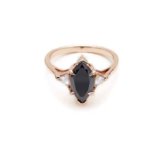 Black engagement ring in rose gold