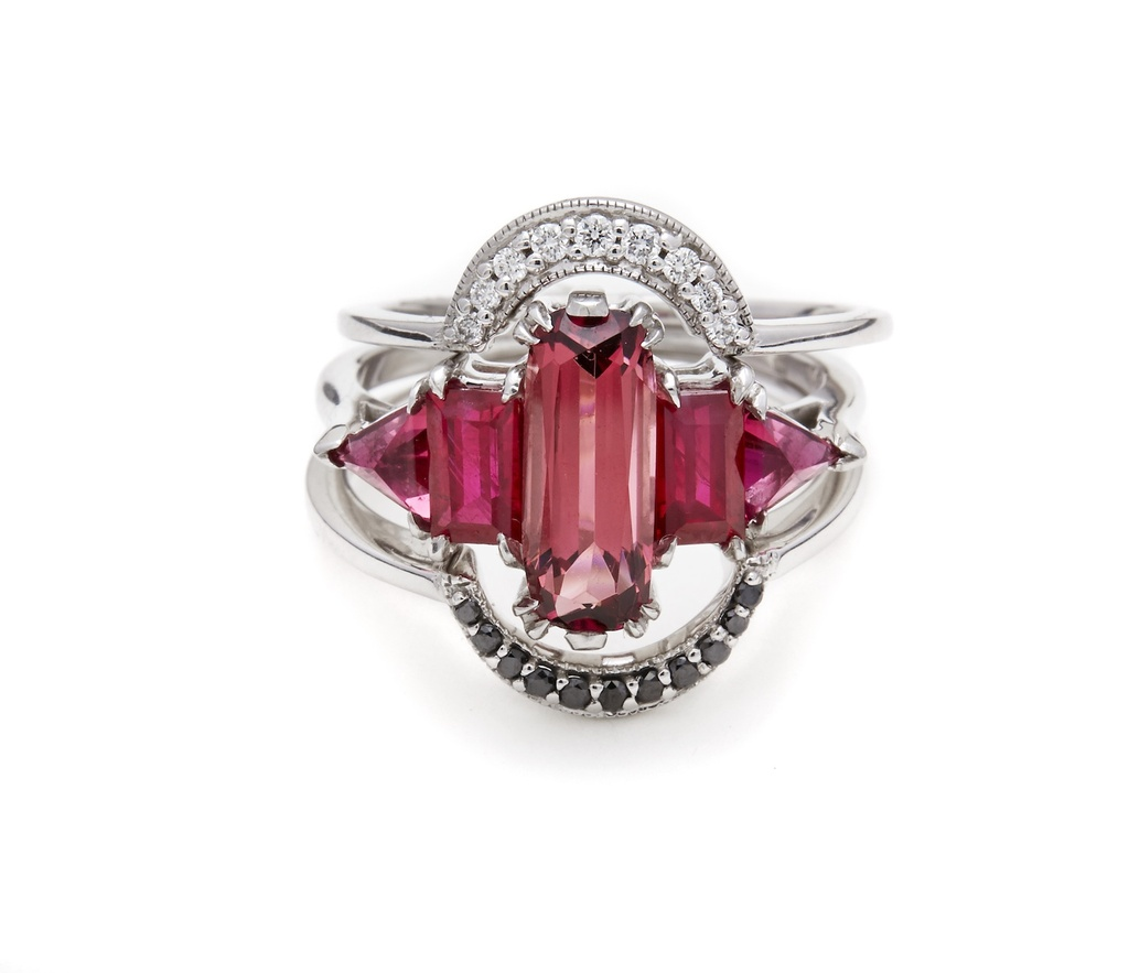 Bold wedding ring with ruby and diamond