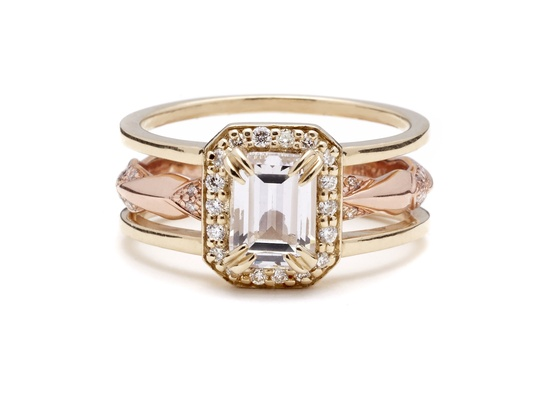 Emerald Cut Attelage Wedding Band Set