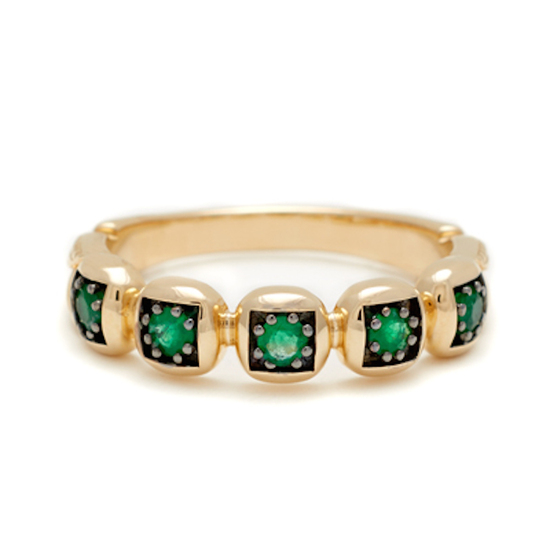 Emerald wedding band set in gold