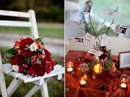 Rich autumn bridal bouquet and DIY wedding reception table centerpieces