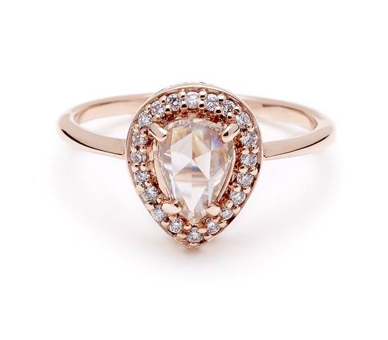 Rose gold pear cut diamond engagement ring