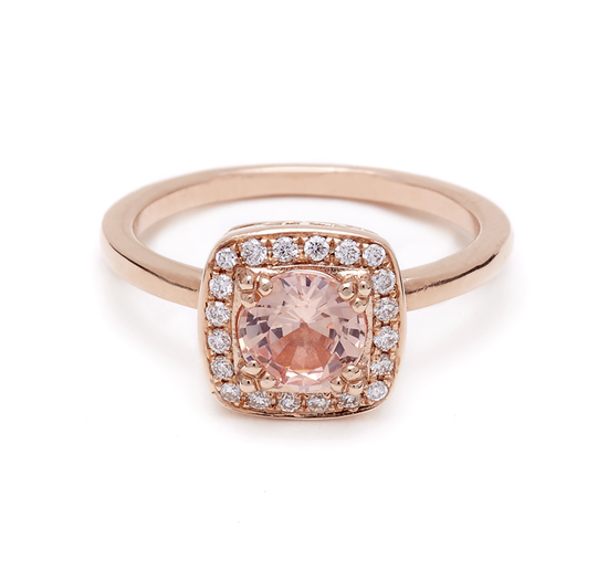 Rose gold princess cut engagement ring