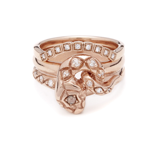 Serpent rose gold wedding bands