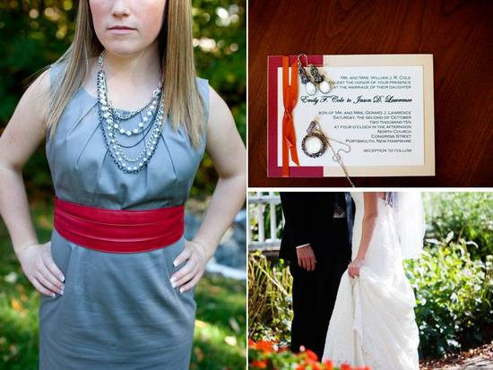 Fall wedding in New Hampshire- bridesmaids wear blue dresses with red sash and layered pearls
