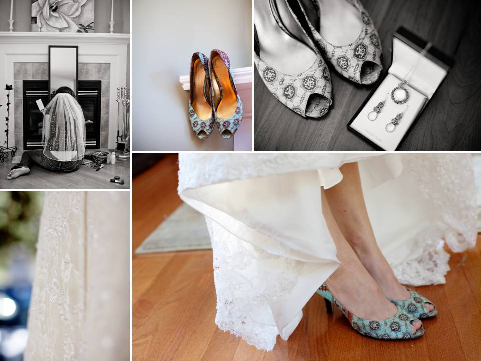 Outdoor-real-wedding-fall-new-hampshire-colorful-peep-toe-bridal-heels-white-lace-wedding-gown.full