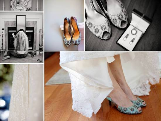 Funky patterned peep-toe bridal heels and ivory lace wedding dress