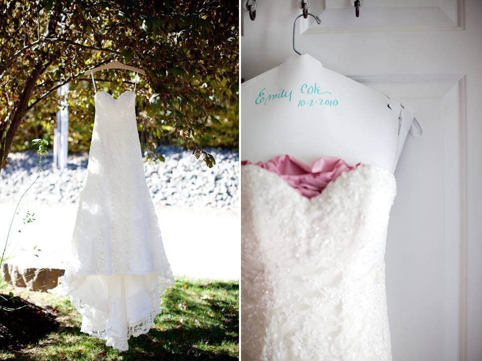 White sweetheart neckline lace wedding dress hangs outside for fall bride