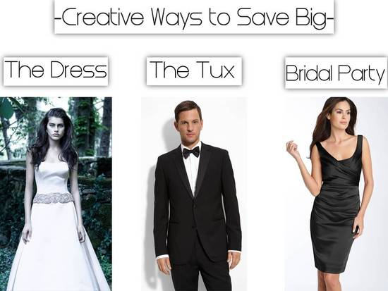 Save big on your dream wedding dress, groom's tux and bridesmaid attire with these creative ideas