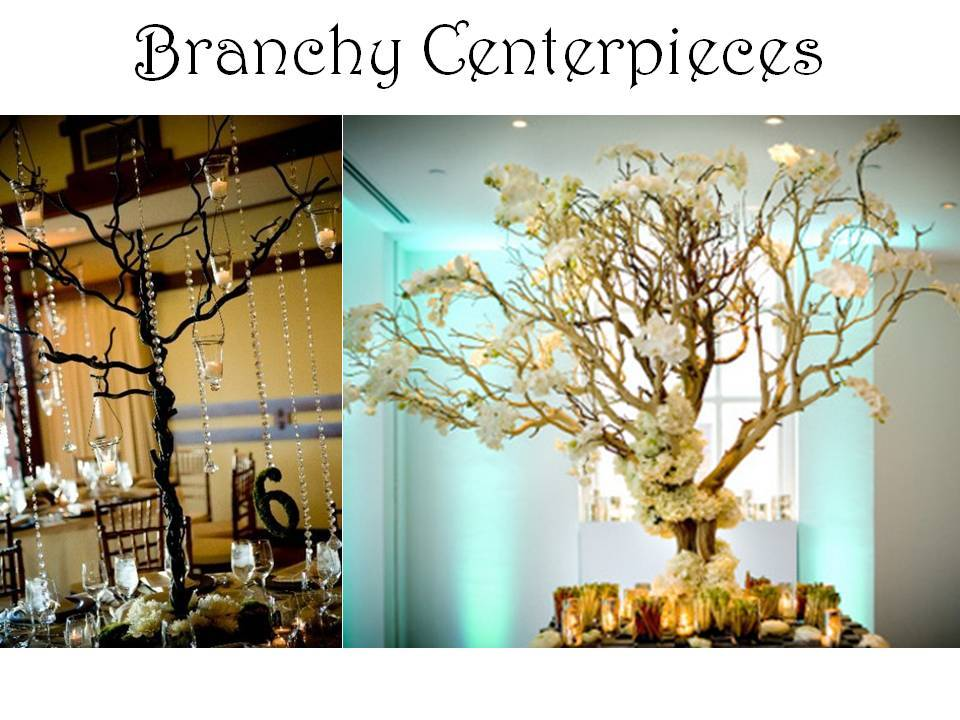 Lovely And Enchanted Wedding Reception Table Centerpieces With Branches