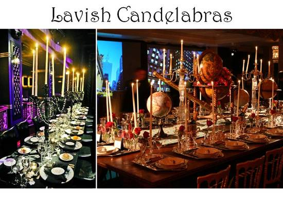 Non-floral wedding reception table centerpieces- candelabras and lots of candlelight