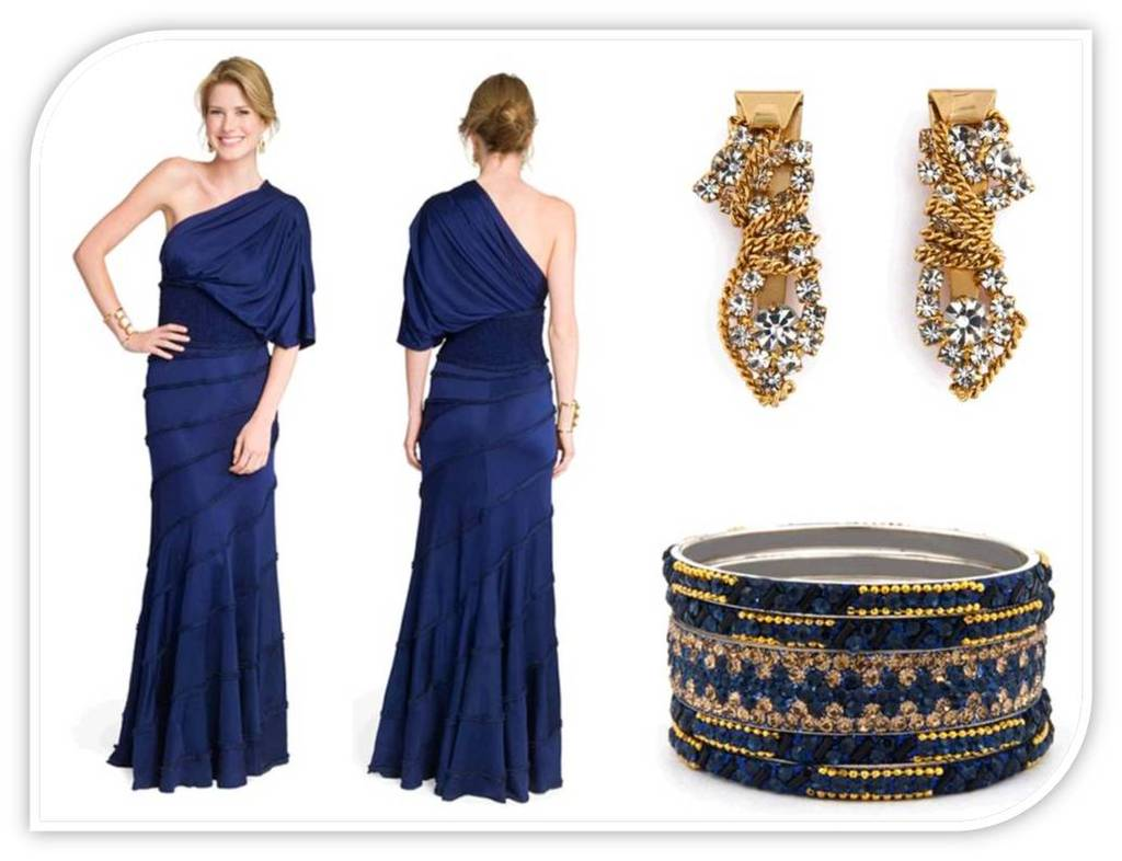 Midnight Blue One Shoulder Full Length Bridesmaid Dress And Gold Accessories