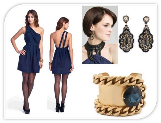One shoulder above the knee midnight blue bridesmaid dress and gold accessories