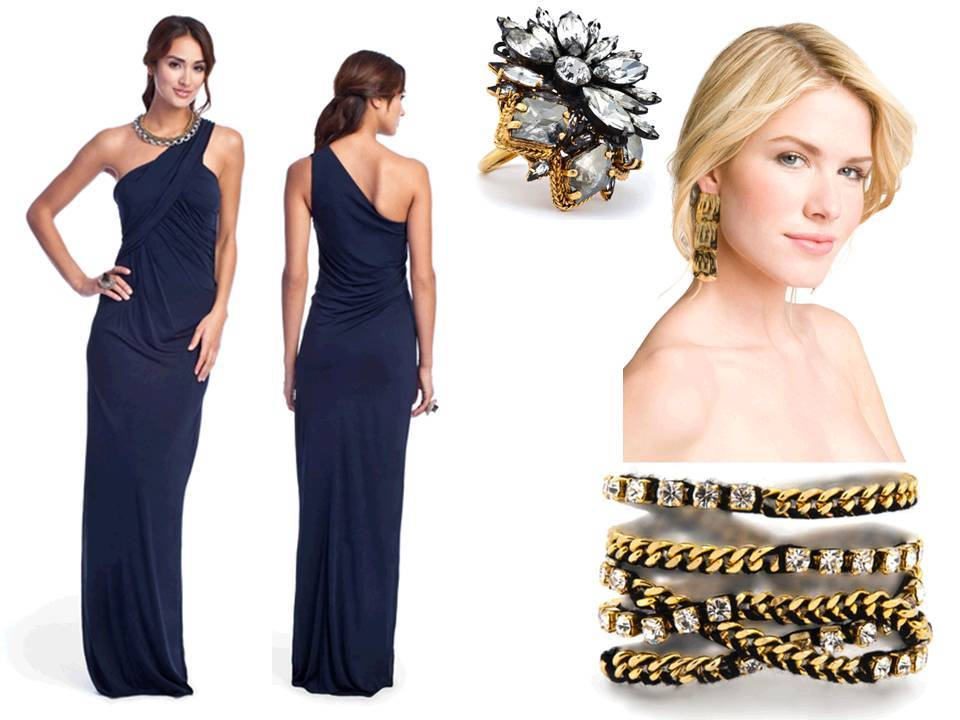Deep midnight blue one-shoulder bridesmaid dress with gold baubles