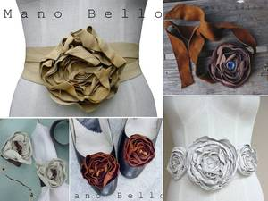 photo of Mano Bello bridal belts and flowers