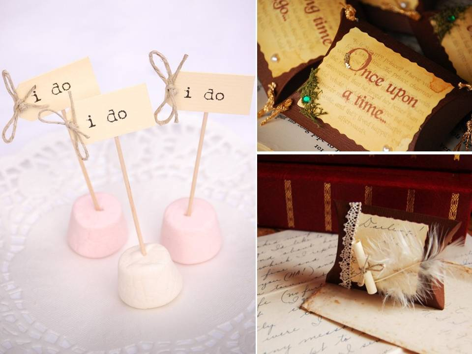 Vintage English wedding finds- I Do cupcake sticks and lovely favor boxes