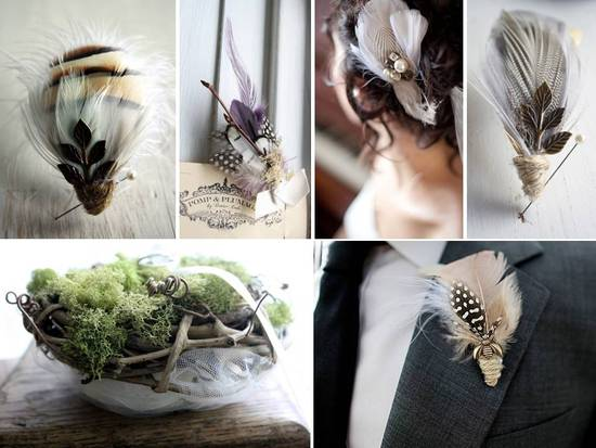 Handmade feather boutonnieres and bridal hair accessories