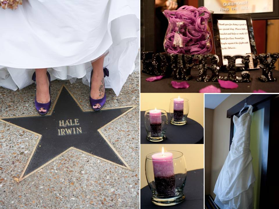 Bride shows off purple peep-toe bridal heels; personalized wedding guest favors