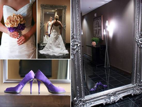 Bride wears white strapless wedding dress, purple satin bridal heels, peach and purple bridal bouque
