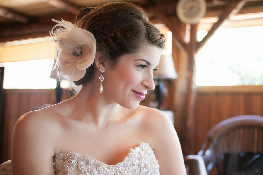 Bride beauty with floral fascinator