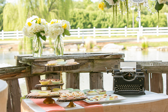 Dessert display with typewriter