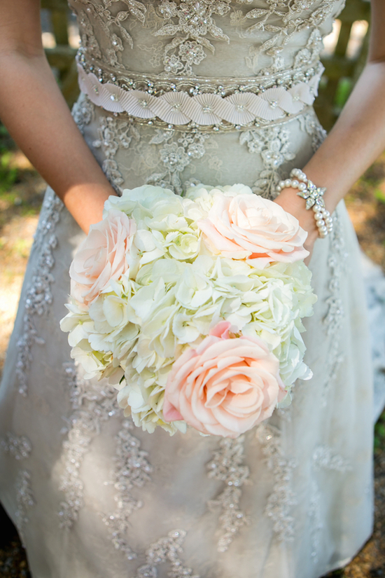 Pastel rose and hydrangeas bouquet