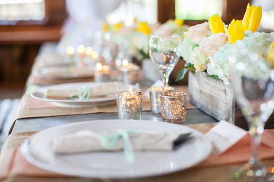 Summer reception table settings