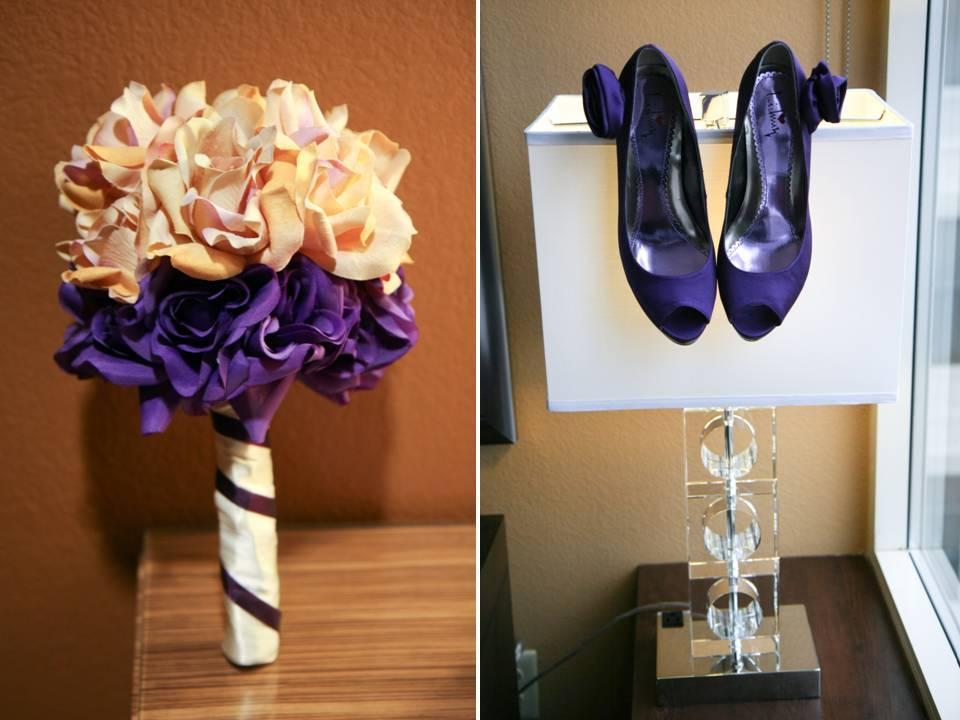 66a50d4f64 Peach and purple fresh flower bridal bouquet and purple peep-toe bridal  heels