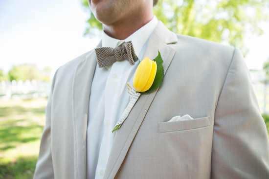Tulip and paper boutonniere