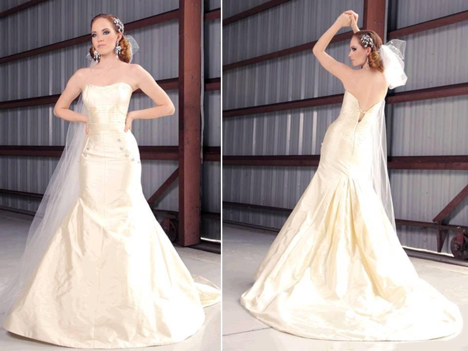 Ivory Silk Shantung Strapless Drop Waist Wedding Dress By