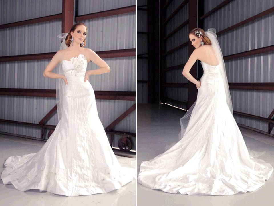 Ivory strapless silk shantung 2011 wedding dress with pleating details on bodice