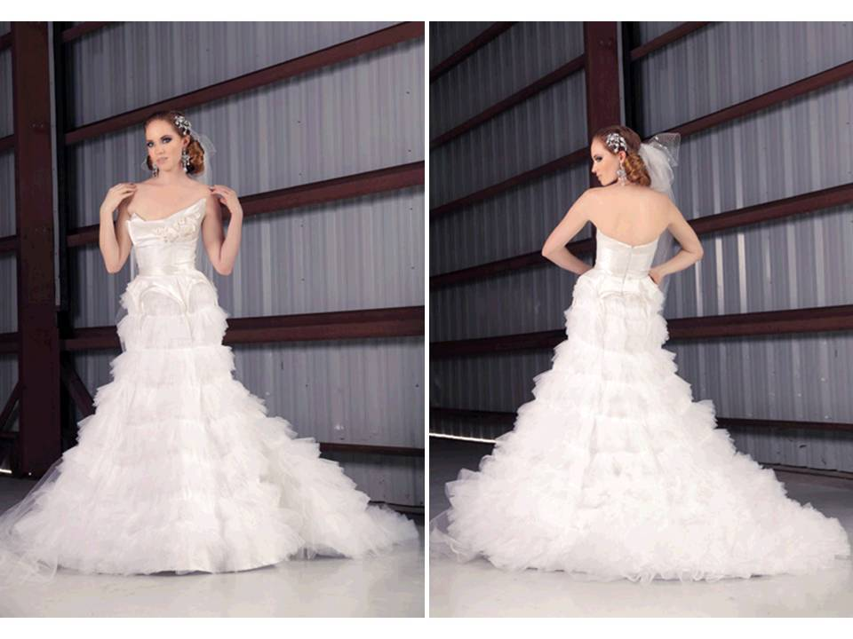 Romantic white drop-waist wedding dress with pleated tulle mermaid skirt
