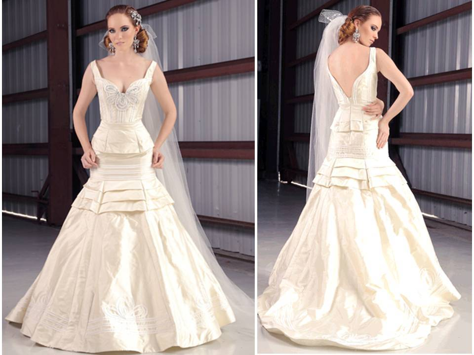 Ivory Silk Shantung Drop Waist Wedding Dress With Crystal Embellished Bodice