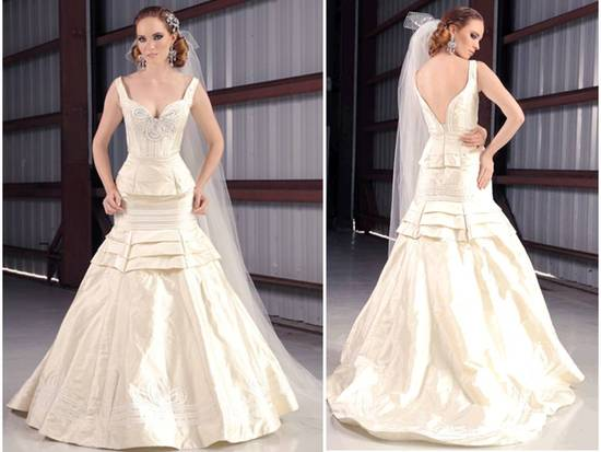 Ivory silk shantung drop waist wedding dress with crystal-embellished bodice