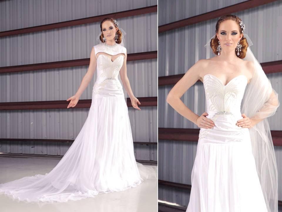 Gorgeous Ivory Modified A Line Strapless Wedding Dress
