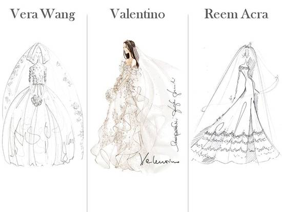 Vera Wang, Valentino and Reem Acra- bridal sketches for Kate Middleton