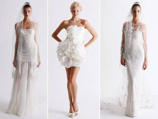 Romantic curve-hugging lace wedding dresses by Marchesa