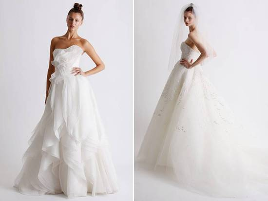 Romantic white strapless full a-line Marchesa wedding dress