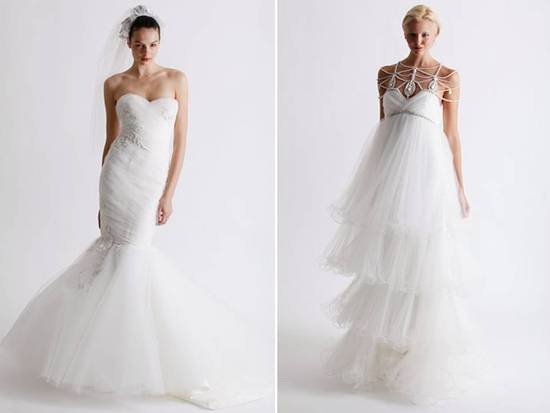 2011 lace and tulle mermaid wedding dress by Marchesa; heavily-embellished empire Marchesa wedding d