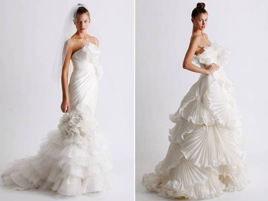 2011 Marchesa wedding dresses with tulle detailing and pleated fan ruffles