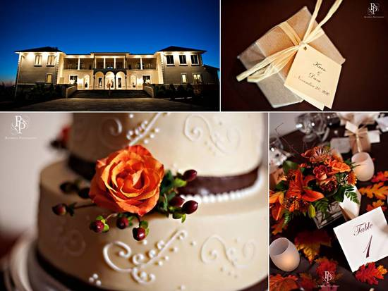 Romantic, enchanted wedding reception venue and classic fall wedding cake