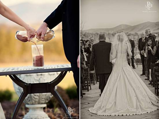 Bride and groom take part in unity sand ceremony during outdoor I Dos