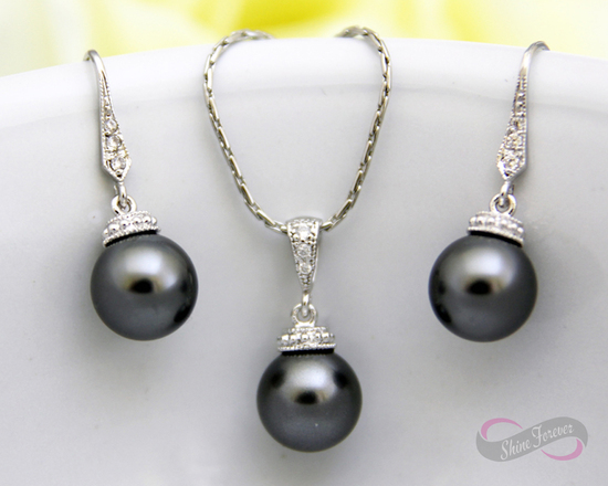 Dark Grey Earrings Necklace Bridal Set