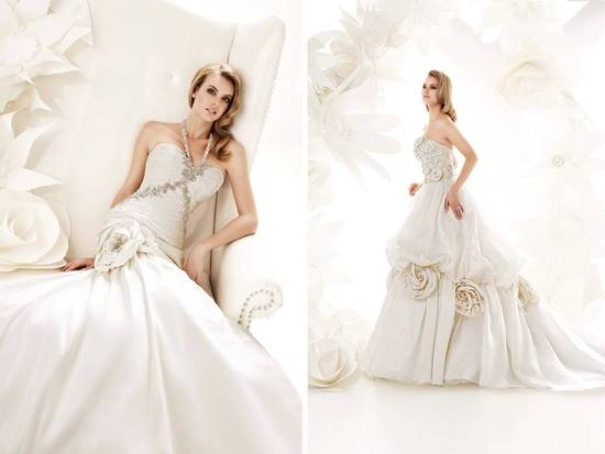 Ivory ball gown wedding dresses with oversized floral applique detail on hip