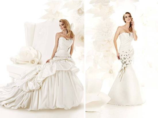 Romantic ivory ball gown wedding dress with bustle detail
