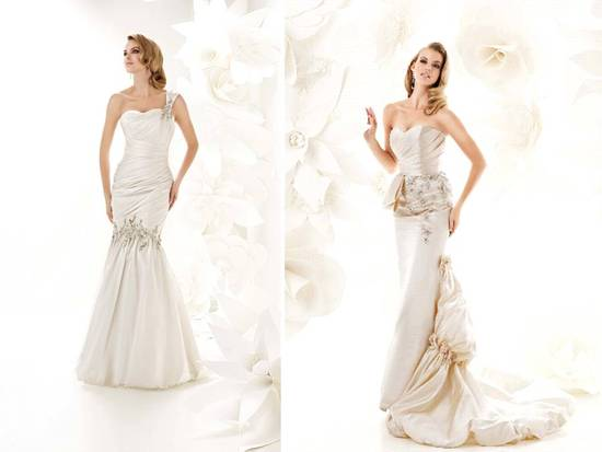 Sweetheart and one-shoulder mermaid wedding dresses by Simone Carvalli