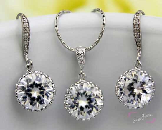 Round Cubic Zirconia Earrings Necklace Set