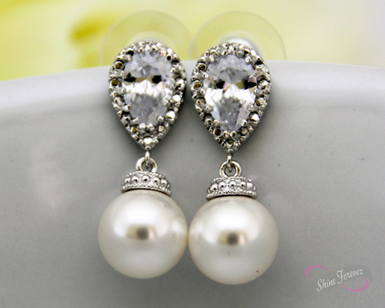 White Pearl Cubic Zirconia Dangle Earrings