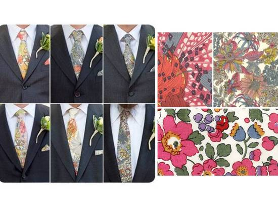 Colorful floral print groomsmen ties by Elise Bergman