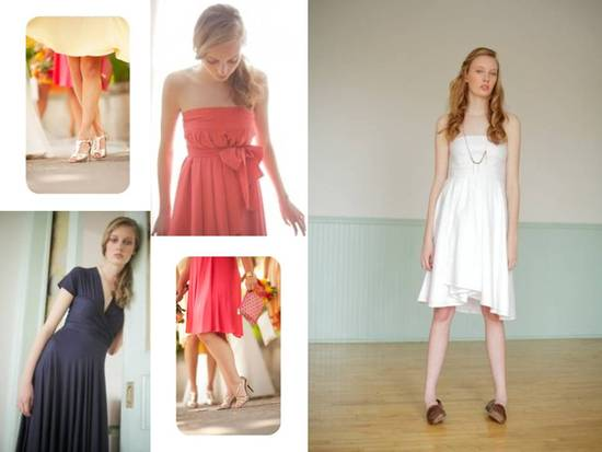 Coral, tangerine, midnight blue and white bridesmaids' dresses